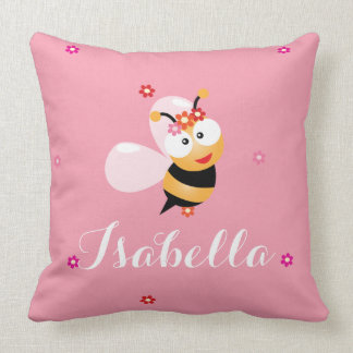 Cute Girly Pink Flower Girl Baby Bee Cartoon Cushion