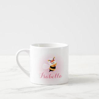 Cute Girly Pink Flower Girl Bee Cartoon Espresso Cup