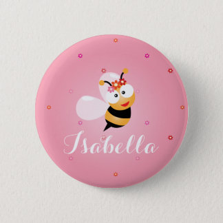 Cute Girly Pink Flower Girl Bee Wedding Favor 6 Cm Round Badge