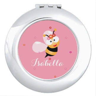 Cute Girly Pink Flower Girl Bumble Bee Cartoon Makeup Mirror
