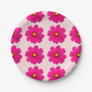 cute girly pink flower pattern paper plate 7 inch paper plate