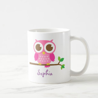 Cute Girly Pink Owl For Girls Basic White Mug