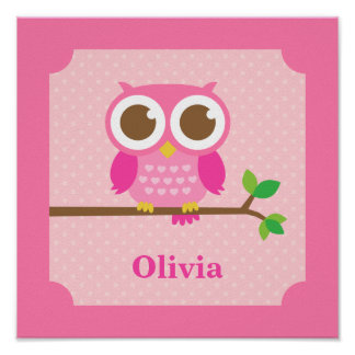 Cute Girly Pink Owl on Branch Girls Room Decor