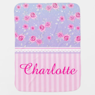 Cute Girly Pink Pink Floral Pattern Custom Name Baby Blanket