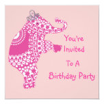 Cute Girly Pink Princess Elephant Party Invitation