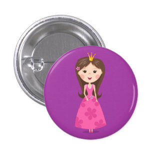 Cute girly pink princess on purple background buttons