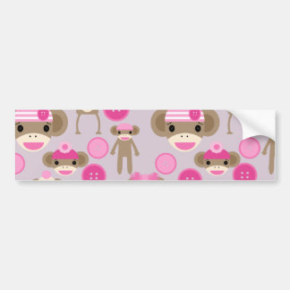 Cute Girly Pink Sock Monkey Girl Pattern Collage Bumper Sticker
