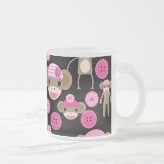 Cute Girly Pink Sock Monkeys Girls on Black Mugs