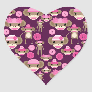 Cute Girly Pink Sock Monkeys Girls on Purple Heart Sticker
