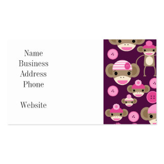 Cute Girly Pink Sock Monkeys Girls on Purple Pack Of Standard Business Cards