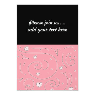 Cute Girly Pink Swirls and Hearts Doodle Art 13 Cm X 18 Cm Invitation Card