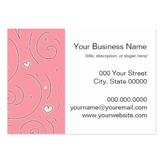 Cute Girly Pink Swirls and Hearts Doodle Art Business Cards
