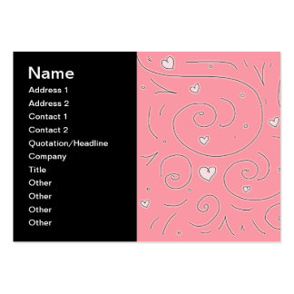 Cute Girly Pink Swirls and Hearts Doodle Art Pack Of Chubby Business Cards