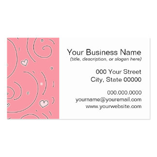 Cute Girly Pink Swirls and Hearts Doodle Art Pack Of Standard Business Cards