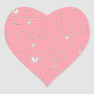 Cute Girly Pink Swirls and Hearts Doodle Art Heart Sticker