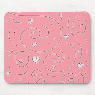 Cute Girly Pink Swirls and Hearts Doodle Art Mouse Pad