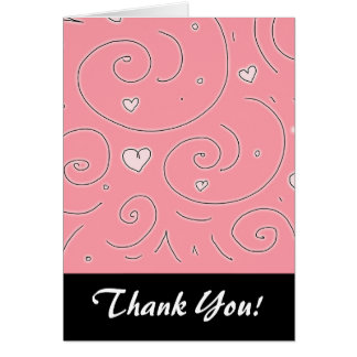 Cute Girly Pink Swirls and Hearts Doodle Art Note Card