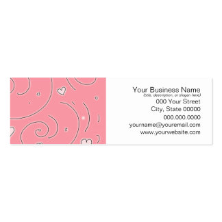 Cute Girly Pink Swirls and Hearts Doodle Art Pack Of Skinny Business Cards