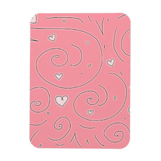 Cute Girly Pink Swirls and Hearts Doodle Art Rectangular Photo Magnet