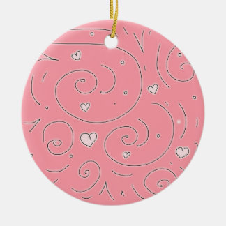 Cute Girly Pink Swirls and Hearts Doodle Art Round Ceramic Decoration