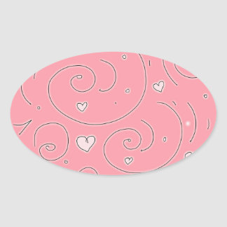 Cute Girly Pink Swirls and Hearts Doodle Art Oval Sticker