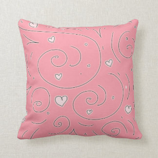 Cute Girly Pink Swirls and Hearts Doodle Art Throw Cushion