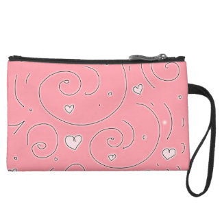 Cute Girly Pink Swirls and Hearts Doodle Art Wristlet Clutch