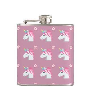 Cute Girly Pink Unicorn Flower Emoji Pattern Hip Flask