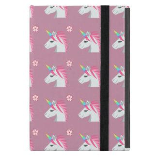 Cute Girly Pink Unicorn Flower Emoji Pattern iPad Mini Case