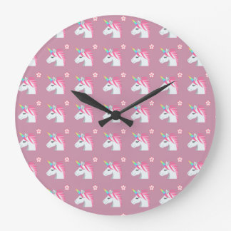 Cute Girly Pink Unicorn Flower Emoji Pattern Large Clock