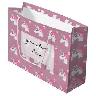 Cute Girly Pink Unicorn Flower Emoji Pattern Large Gift Bag