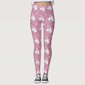 Cute Girly Pink Unicorn Flower Emoji Pattern Leggings