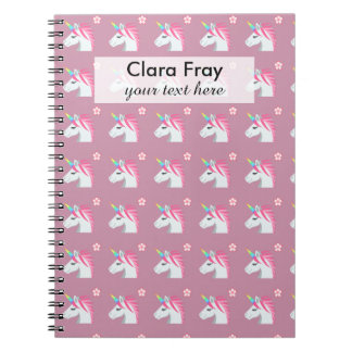 Cute Girly Pink Unicorn Flower Emoji Pattern Notebooks