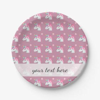 Cute Girly Pink Unicorn Flower Emoji Pattern Paper Plate