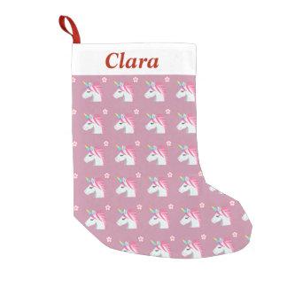 Cute Girly Pink Unicorn Flower Emoji Pattern Small Christmas Stocking
