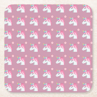 Cute Girly Pink Unicorn Flower Emoji Pattern Square Paper Coaster