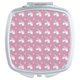 Cute Girly Pink Unicorn Flower Emoji Pattern Vanity Mirrors