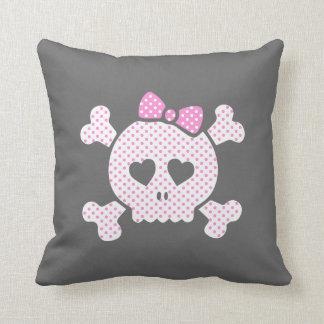 Cute Girly Polka Dot Skull Pink Black Cushions