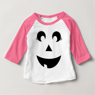 Cute Girly Pumpkin Face Baby Costume Baby T-Shirt