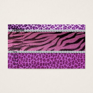 Cute Girly Purple Animal Print Diamond Business Card