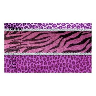 Cute Girly Purple Animal Print Diamond Business Card Template