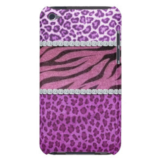 Cute Girly Purple Animal Print Diamond Barely There iPod Covers