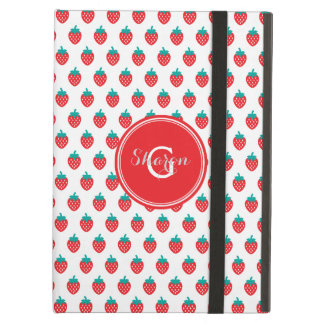 Cute girly red white strawberry patterns monogram iPad air cases