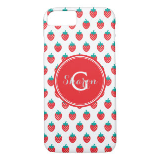 Cute girly red white strawberry patterns monogram iPhone 7 case