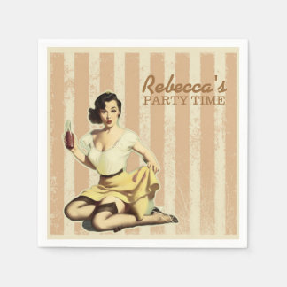cute girly retro pin up girl vintage party disposable napkin