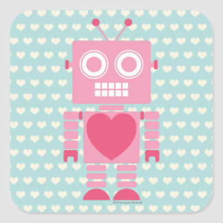 Cute Girly Robot Square Sticker