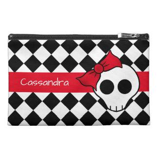 Cute girly skull travel accessory bag
