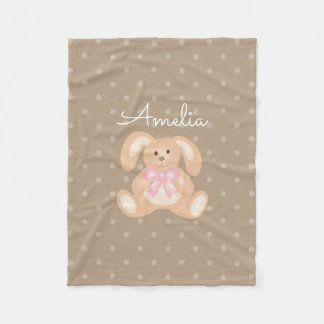 Cute Girly Sweet Adorable Baby Bunny Rabbit Kids Fleece Blanket