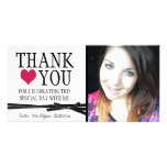 Cute Girly Thank You with Photo Personalized Photo Card