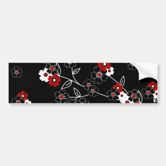 Cute girly trendy vintage hand drawn flowers bumper sticker